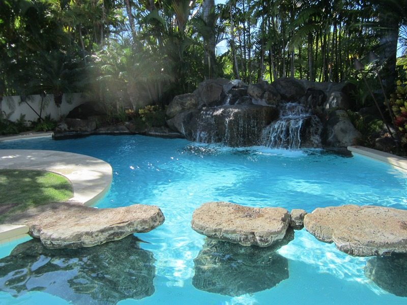 Private freeform tropical pool
