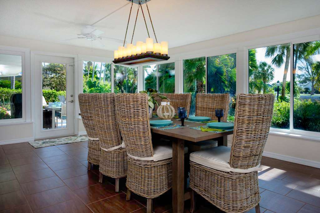Large Dining Room with Incredible Views of Canal and Pool