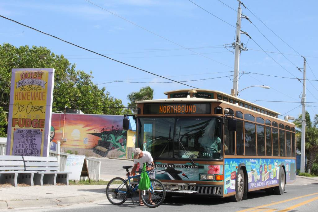 The Island's Free Trolley with Bike Rack Makes Travel Easy.