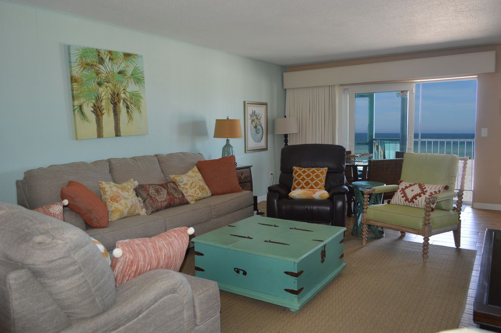 Open Living Room with Beach View.