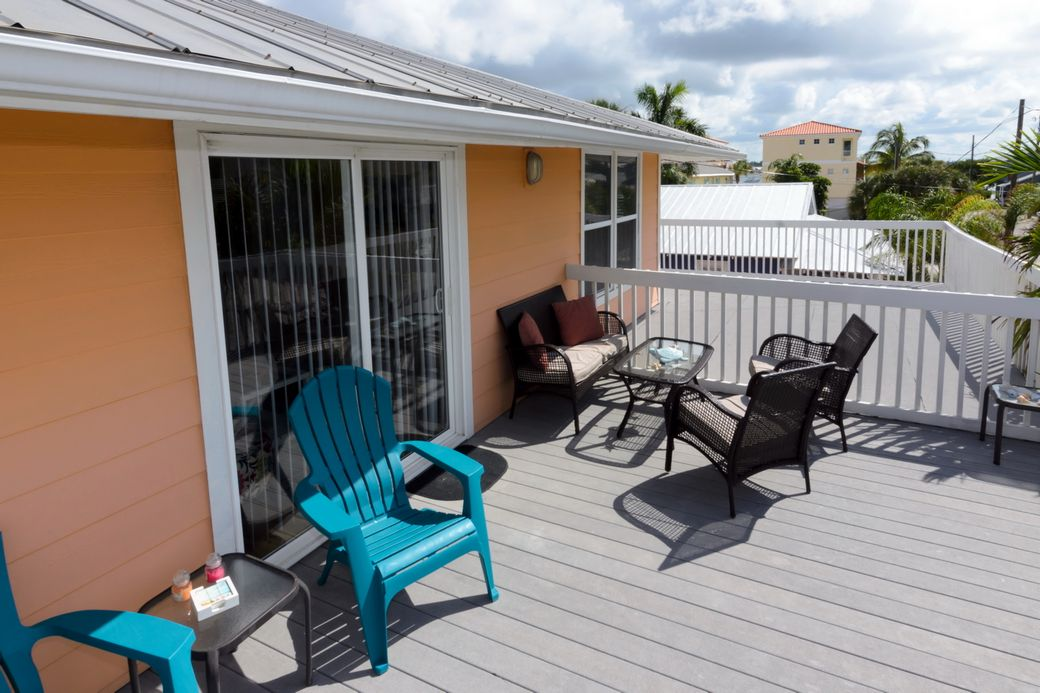 Street Side Deck with Beach View