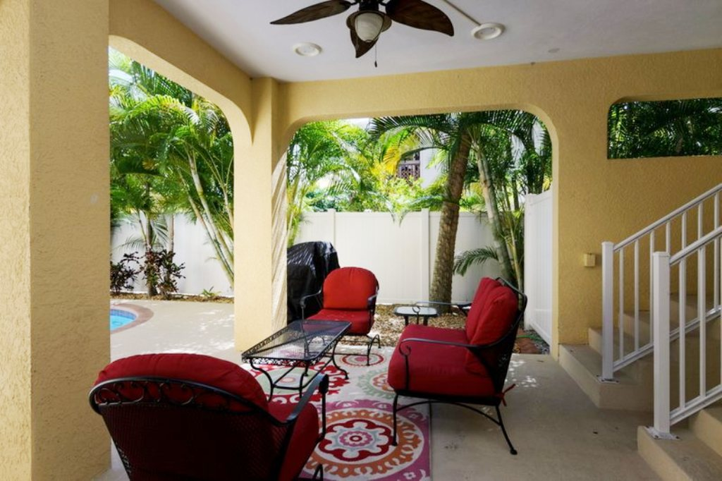 Shaded Pool Lounge Area and Patio