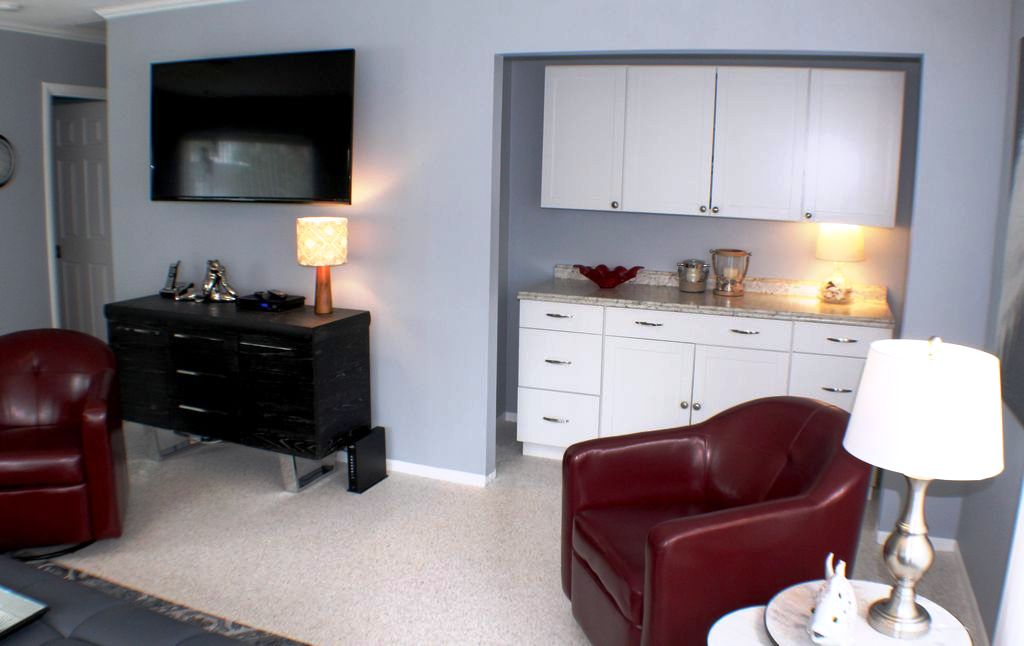 Living Area with Dry Bar for Snacks or Storage
