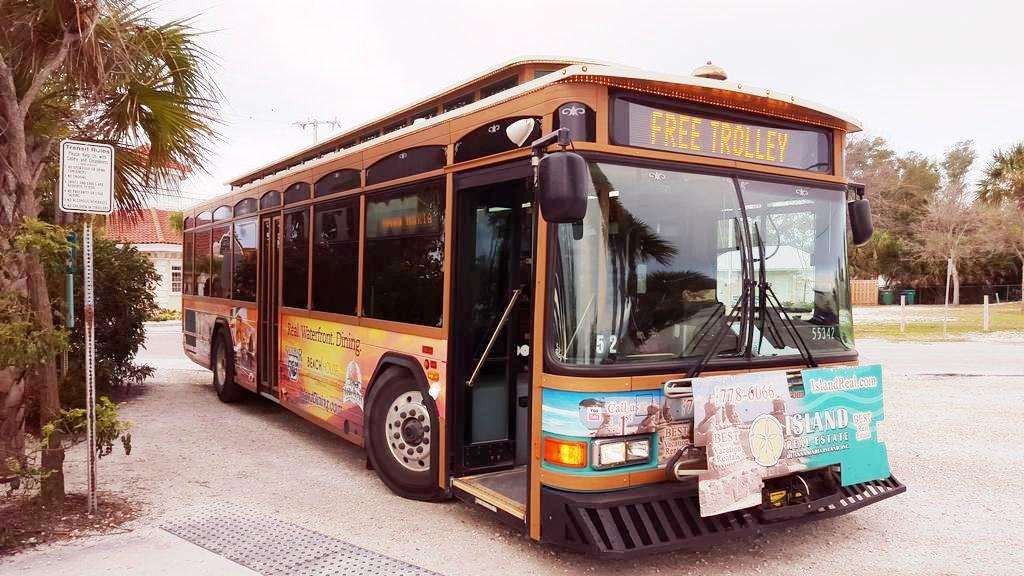 Hop on the Free Trolley at the City Pier Parking Area