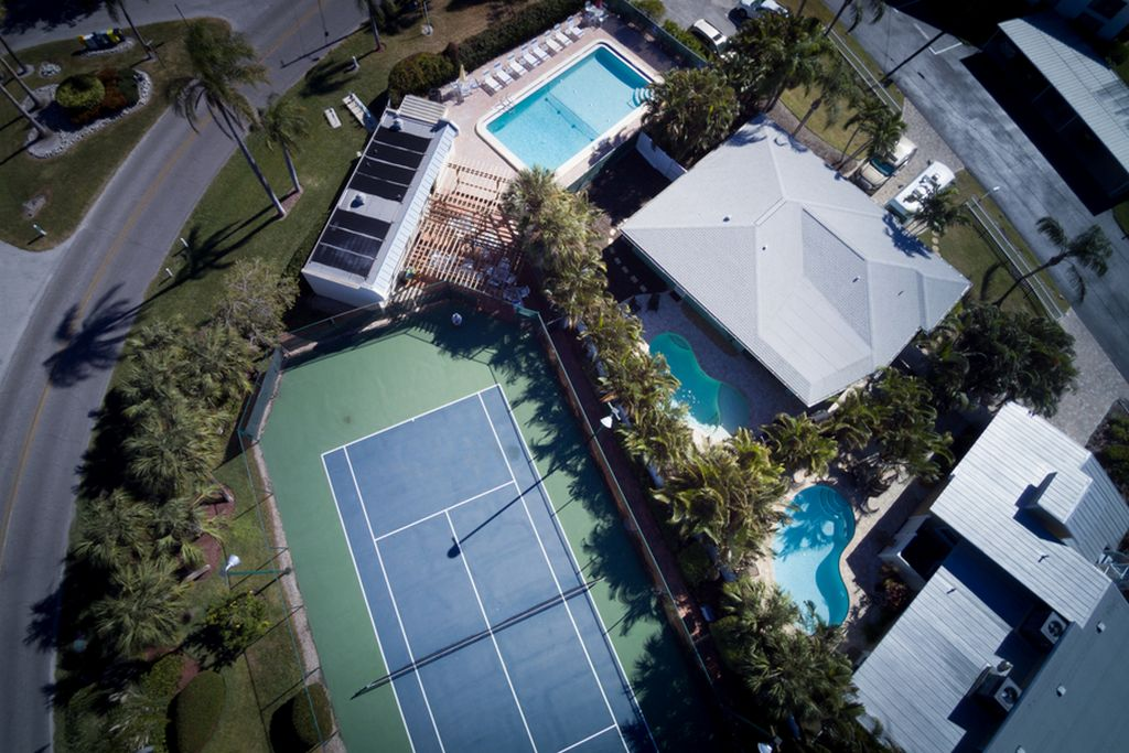 Aerial View of Pool with Restrooms and Covered Picnic Area