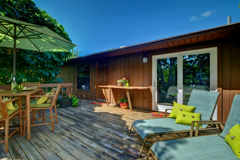 Deck Seating, Back Entrance and 2nd Bedroom Access.