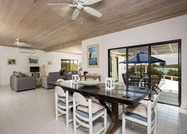 Dining and living area with views of sound