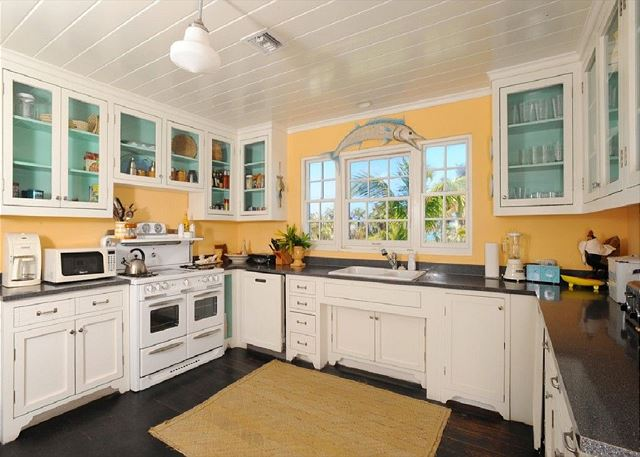 All-new vintage-style kitchen with top-of-the-line appliances and ocean views