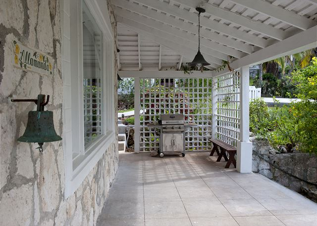 Covered porch with gas grill