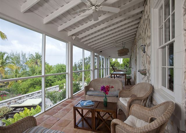 Screened porch with sweeping ocean views