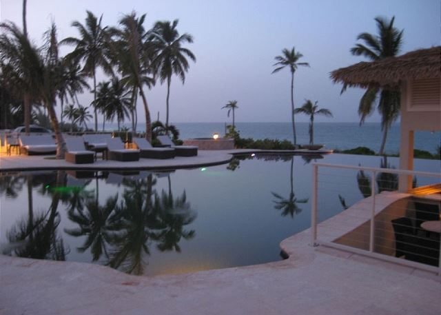 Infinity pool showing hot tub in background and swim-up bar at right