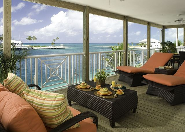 Luxurious furnished balcony with water views