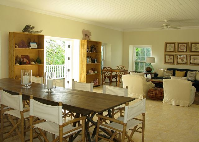 The large living and dining area spanning the length and width of the house.