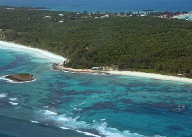 Med Point House aerial view w/Club Med beach on left & Casuarina Beach on right