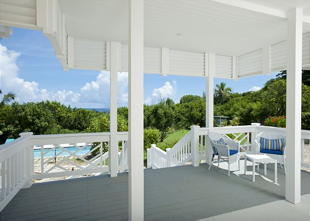 Porch overlooking pool and gardens