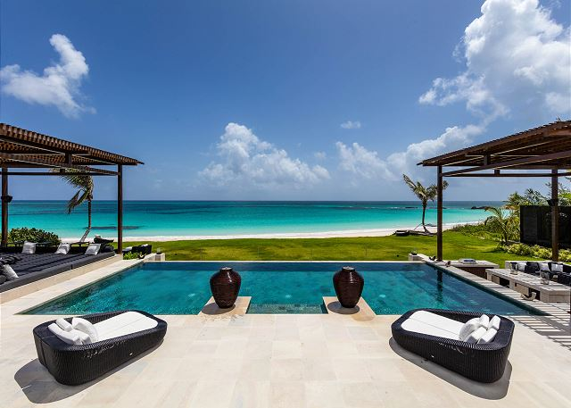 Welcome to Ananda House. View from the Main House toward the pool and beach