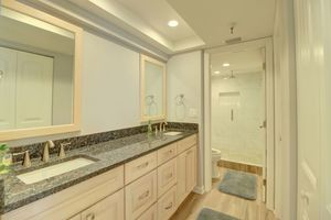 Brand new master bathroom with tiled walk in shower