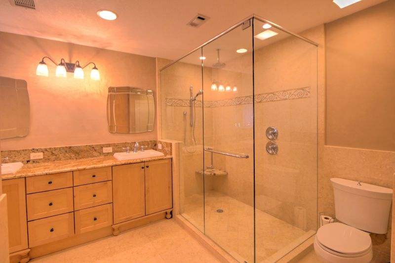 Master bath walk in shower with duo shower heads