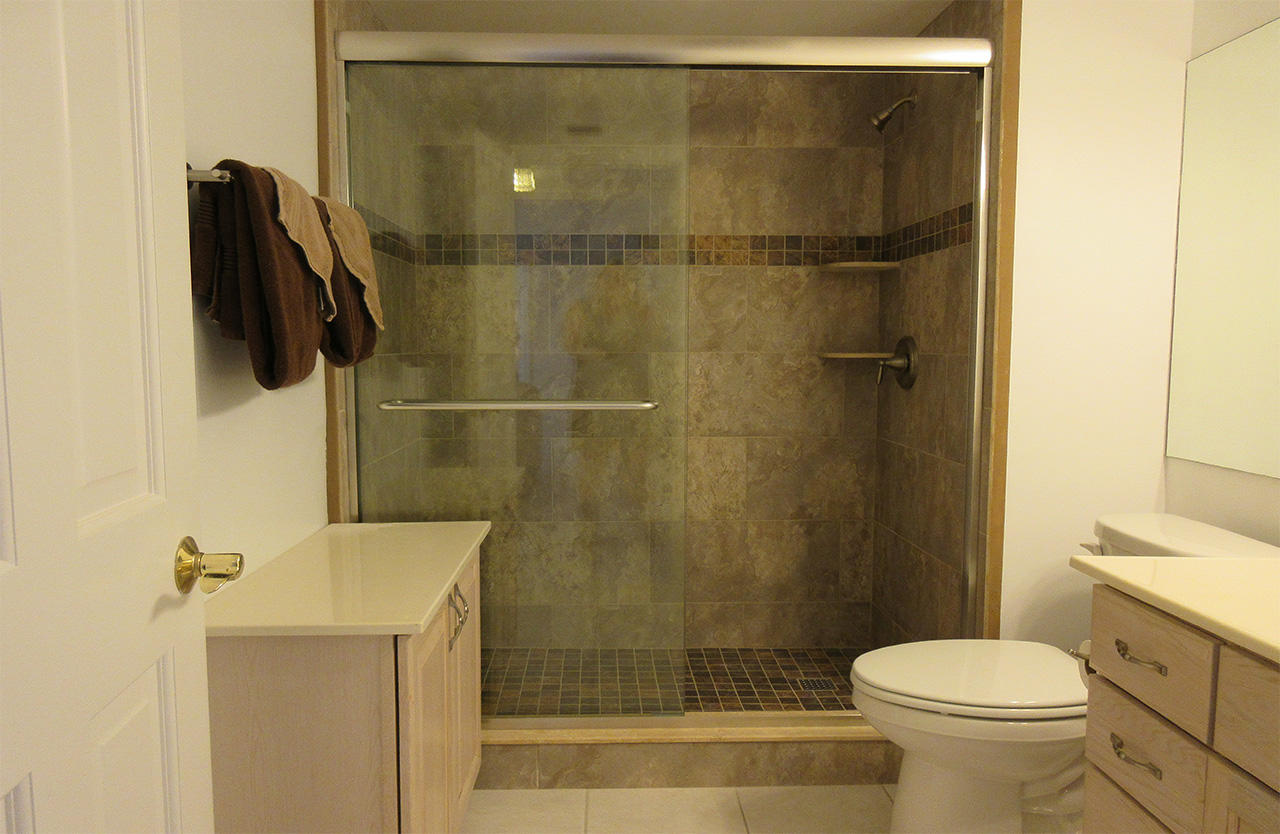 Newly Remodeled Bath has Walk In Shower