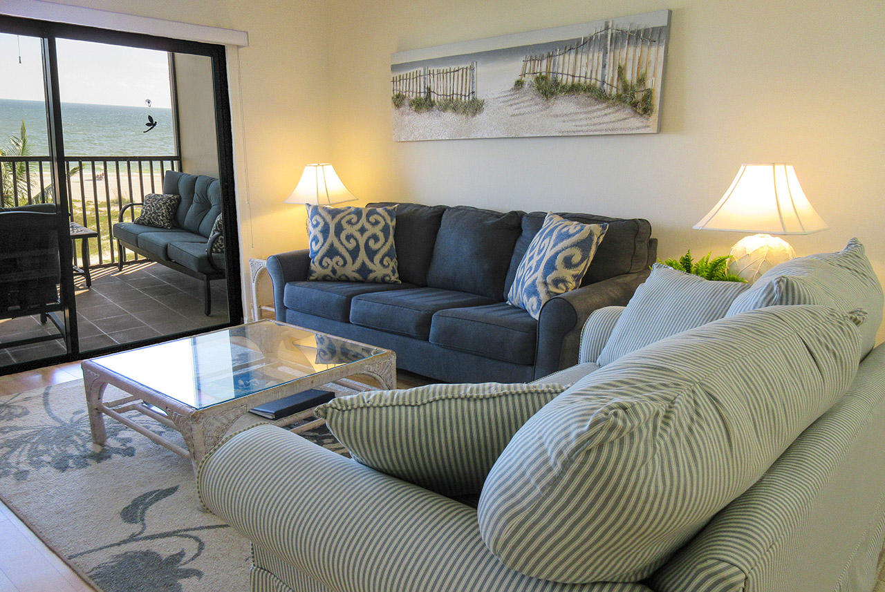 Comfortable seating to enjoy a both a large screen tv or the direct Gulf view