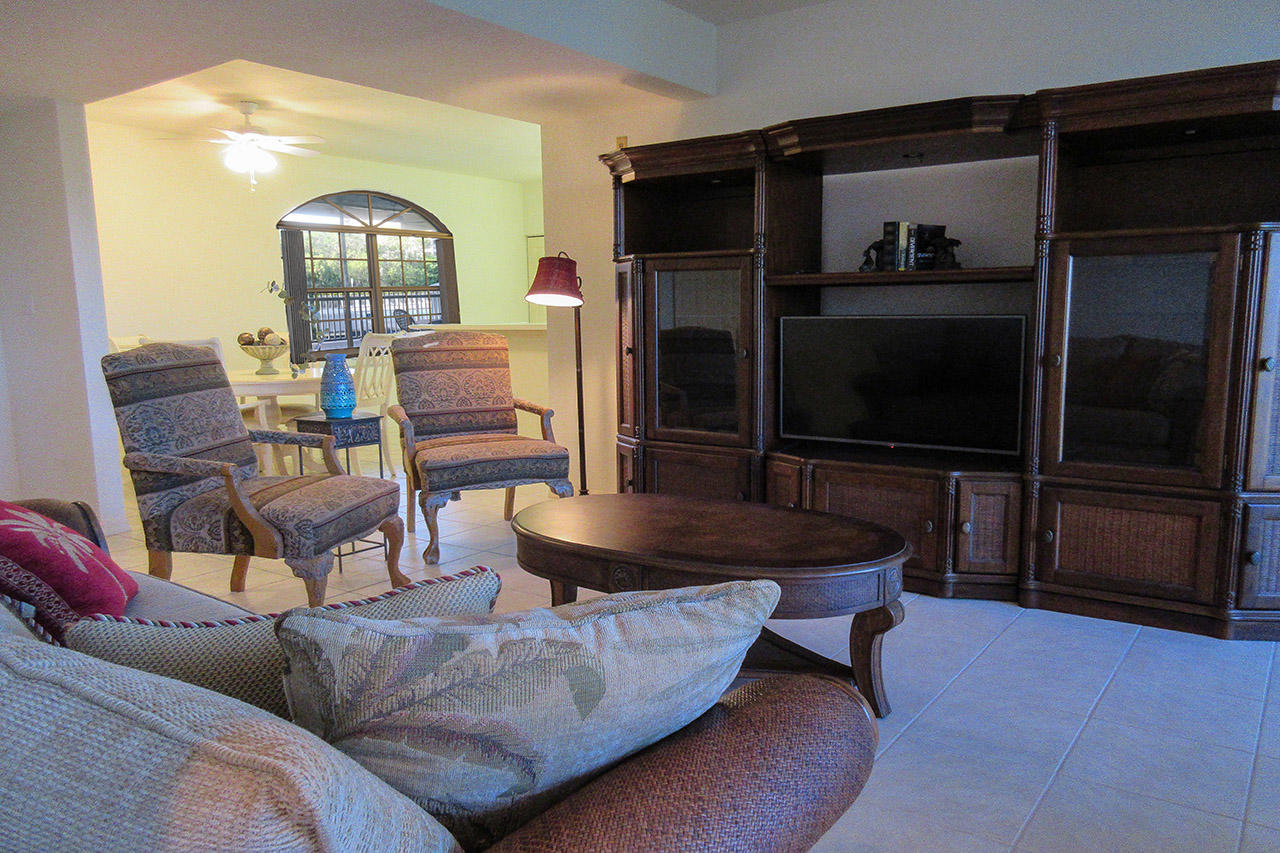 Comfortable seating and large screen TV