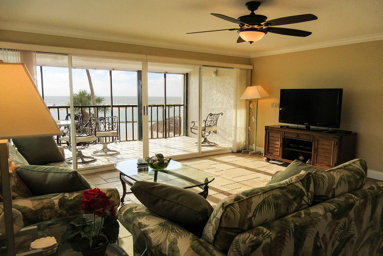 Living Room has a million dollar view of the Gulf.