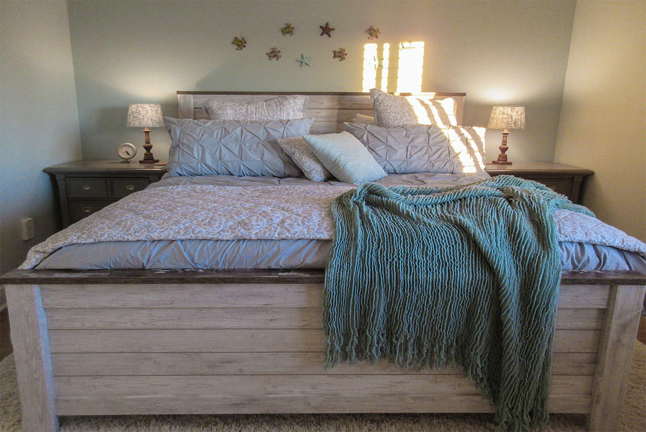 King Sized Bed with custom designed linens