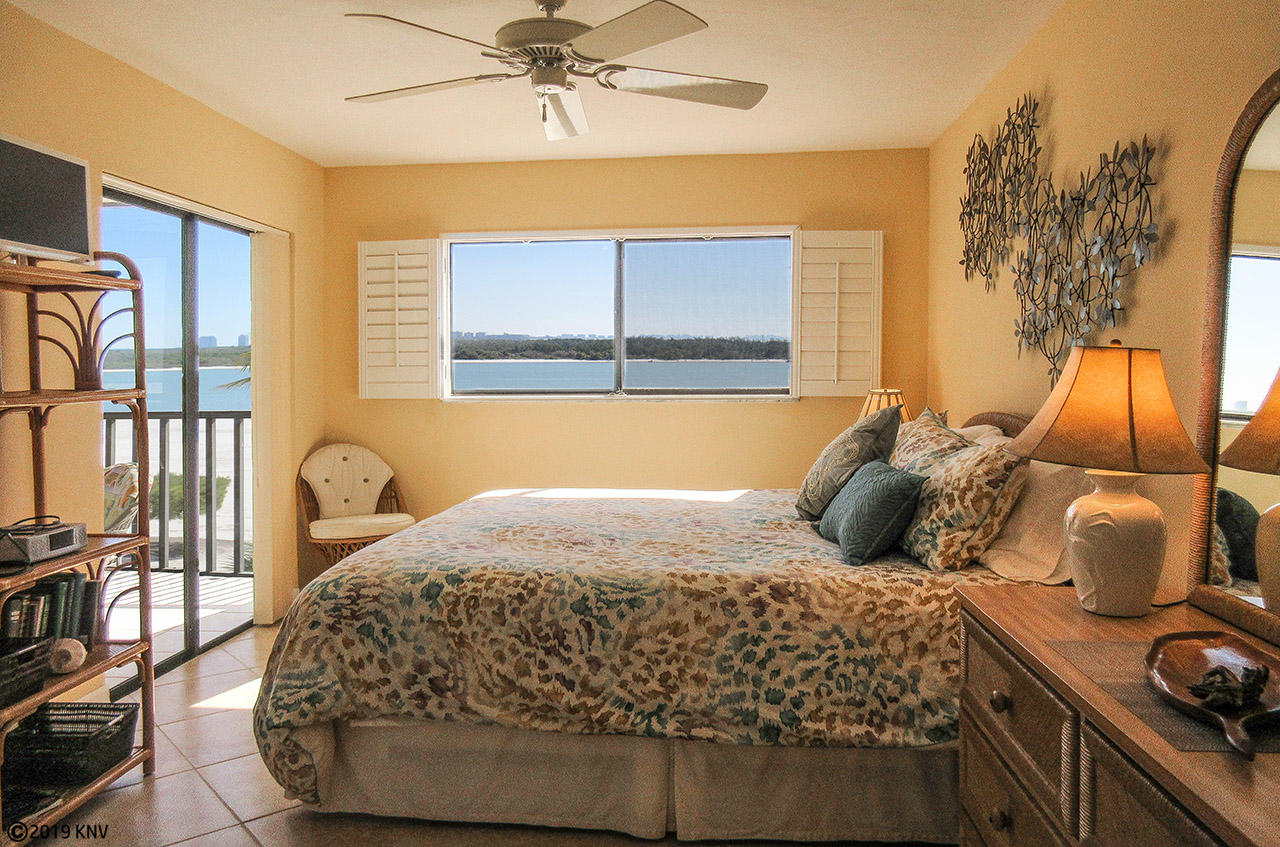 Master Bedroom has private lanai access and beautiful view of the Gulf