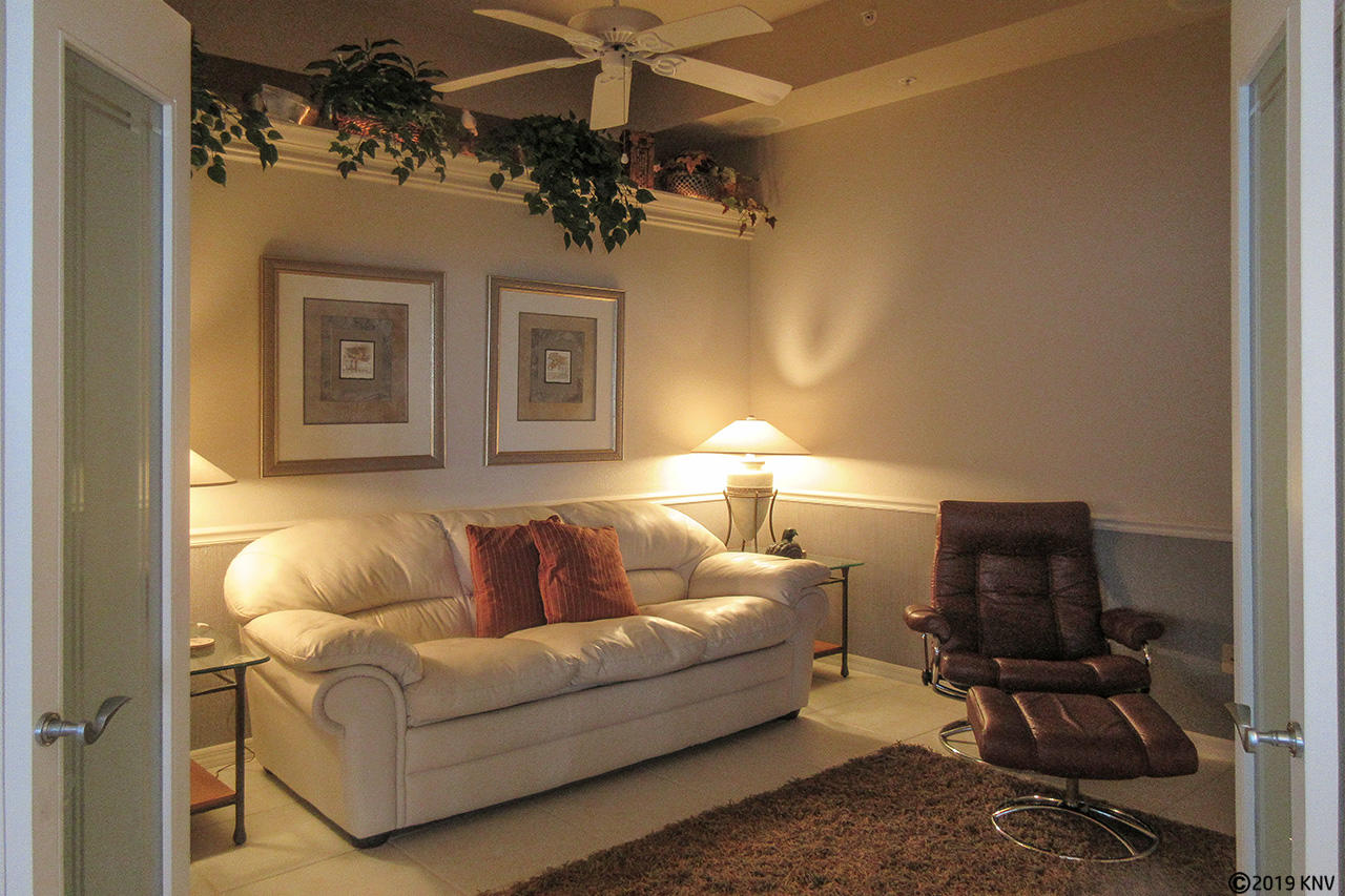 Den with sleeper sofa and TV