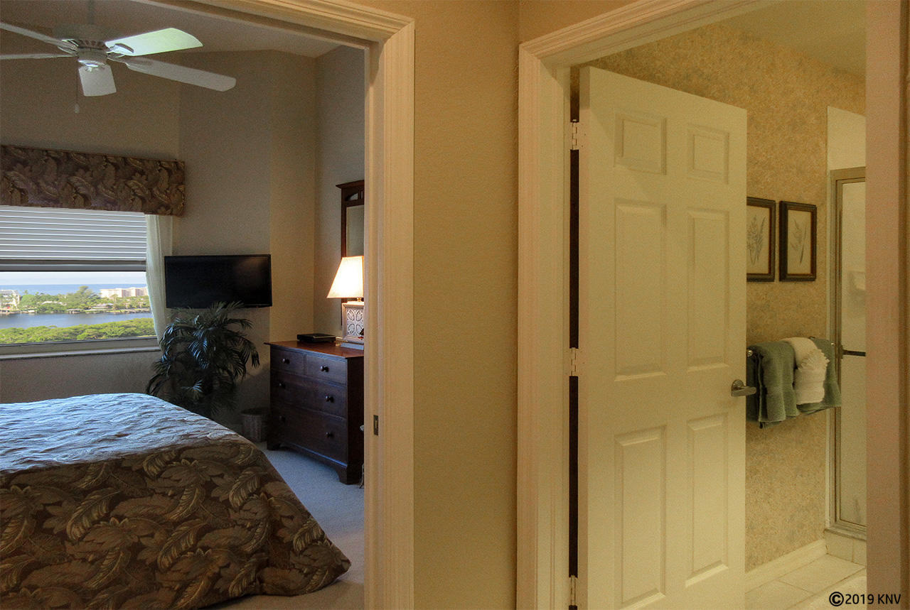 Guest Bedroom has ceiling fan, its own TV and a beautiful view of the island
