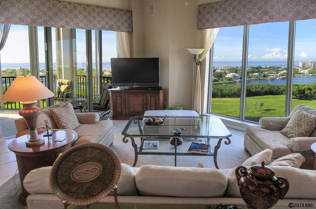 Sweeping views of the Gulf and the Island from your Penthouse at Waterside