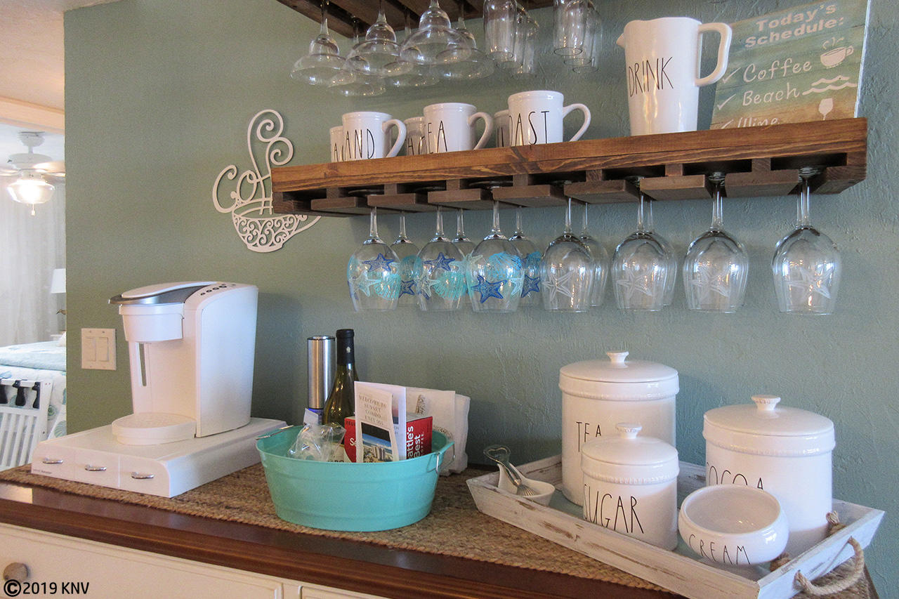 Welcome to the Island.  Guests of Sunset 904 are greeted with a coffee bar and gift basket.