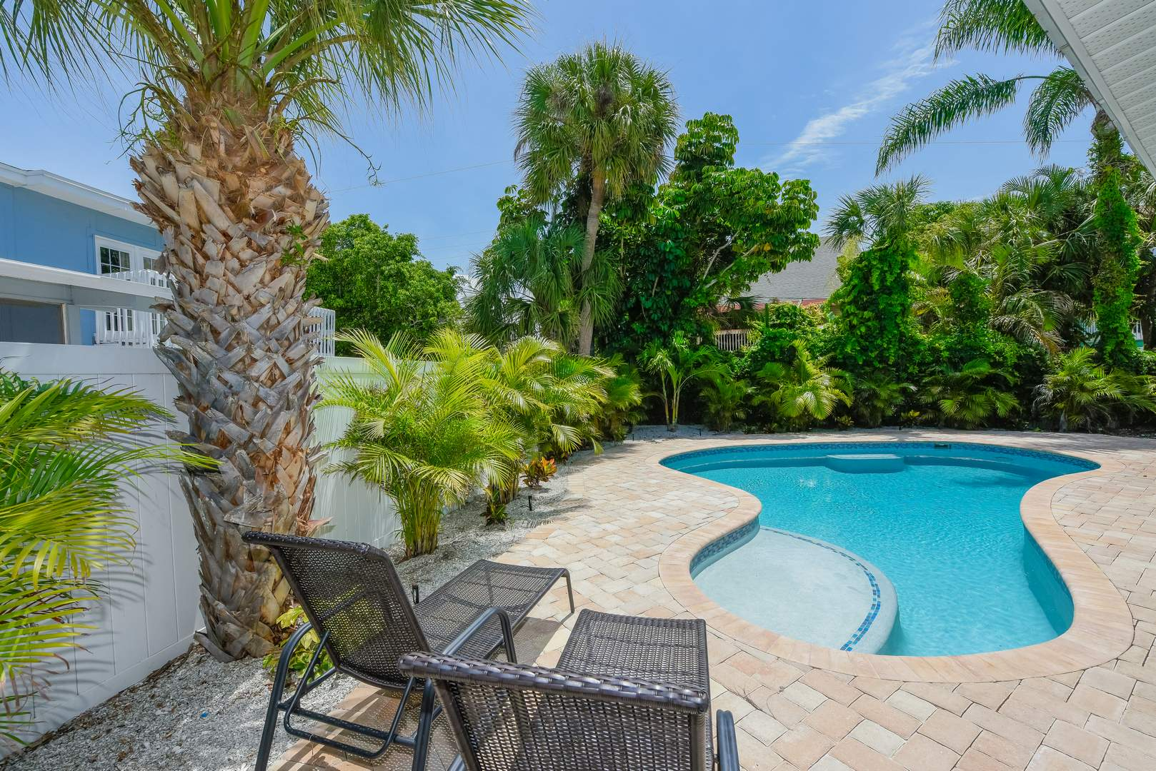 Perfect Pool. No screens. Great Sun Shelf and Covered Patio