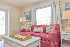 Living Room Couch. This Whole Home is Cute, Colorful, Fun