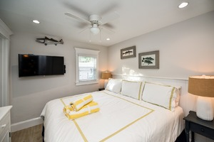 Large HDTV and King Size bed