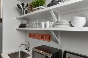 Perfect amount of shelving for storage in the kitchen