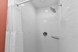 Walk-In Shower with Sparkling Subway Tile