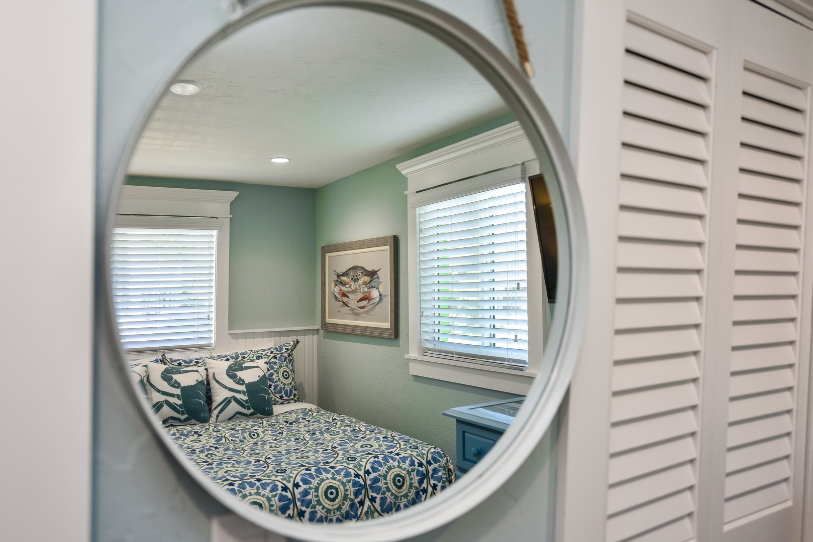 Mirrors in bedroom and in bathroom