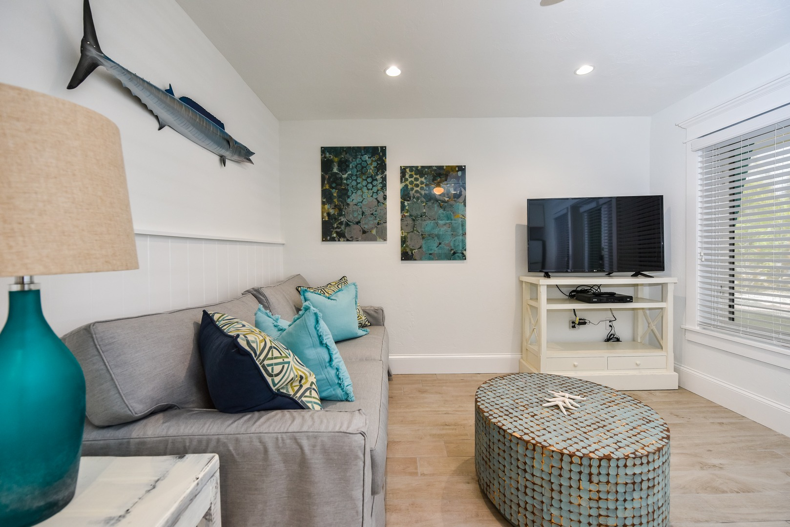 Spacious Living Room with Large HDTV