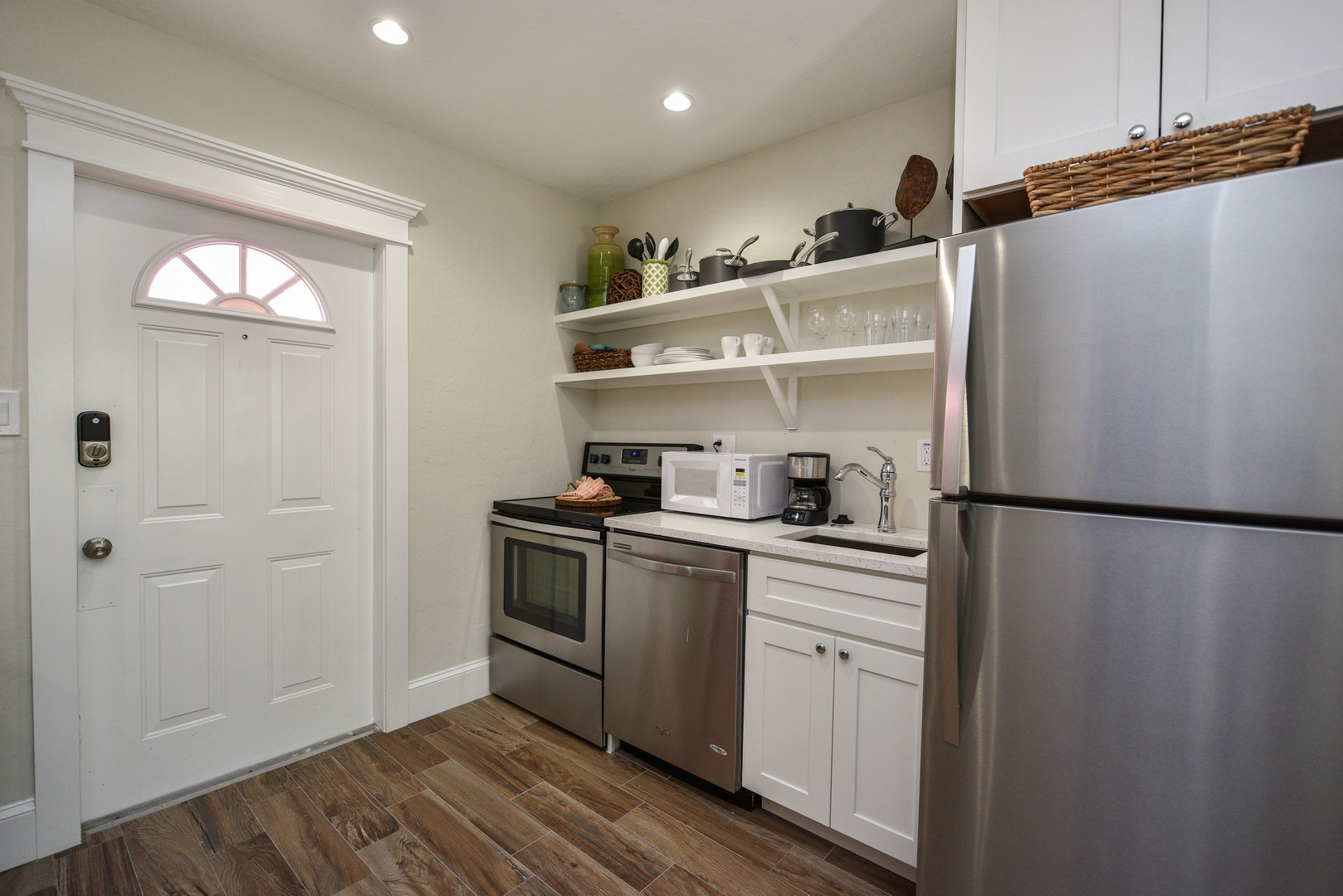 Stainless Appliances and Open Cabinetry