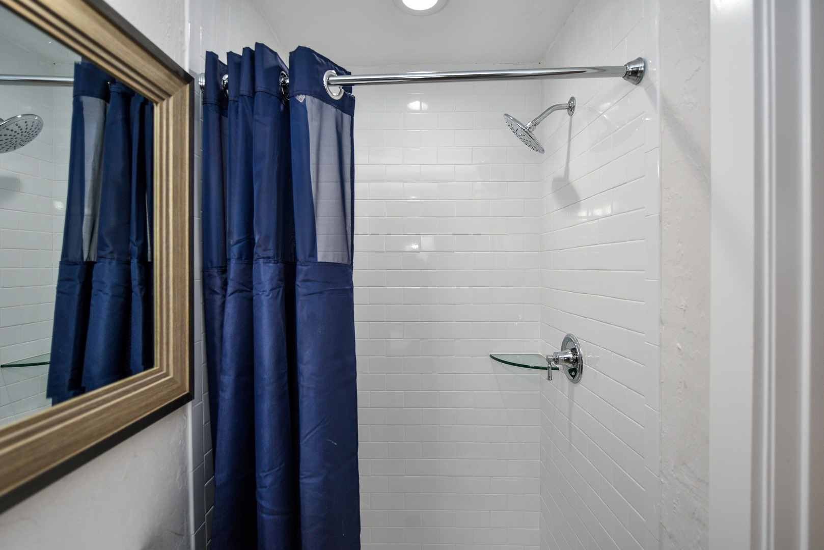 Roomy shower with Subway Tile