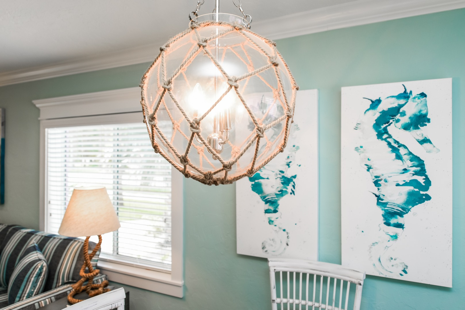 Unique chandlier in dining area