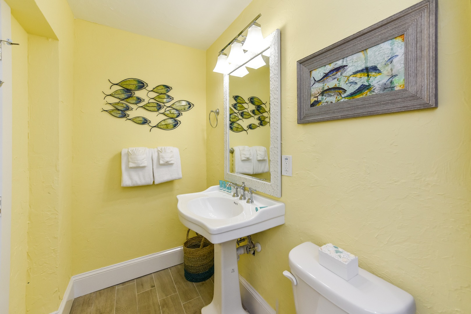 Pedestal Sink and More Yellow Fin Tuna Décor