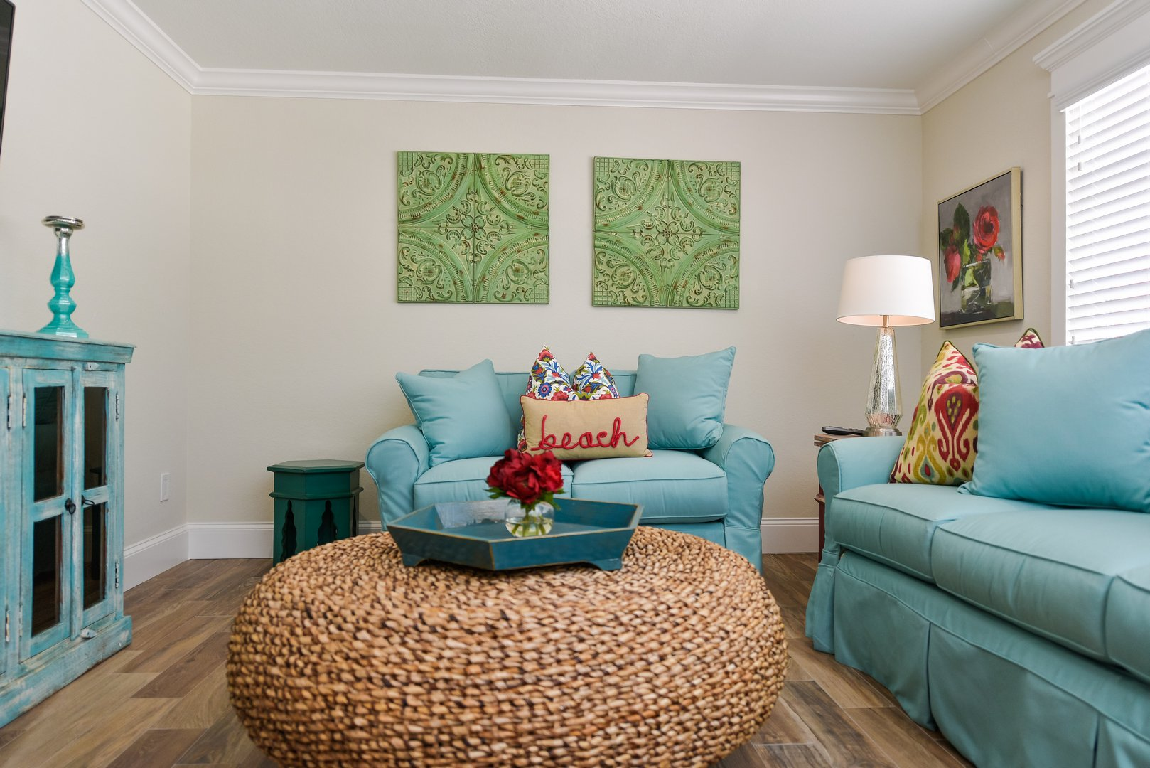 living room with a queen sleeper sofa