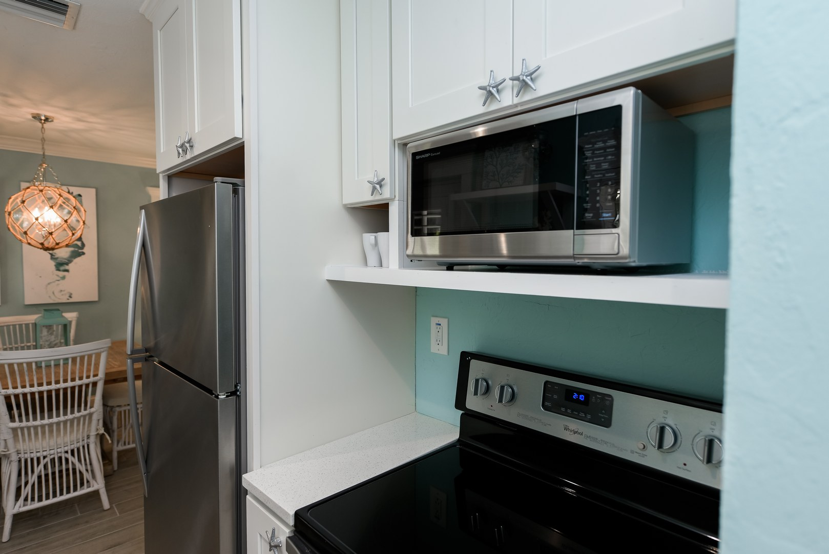 Stainless Steel Appliances in Full Kitchen