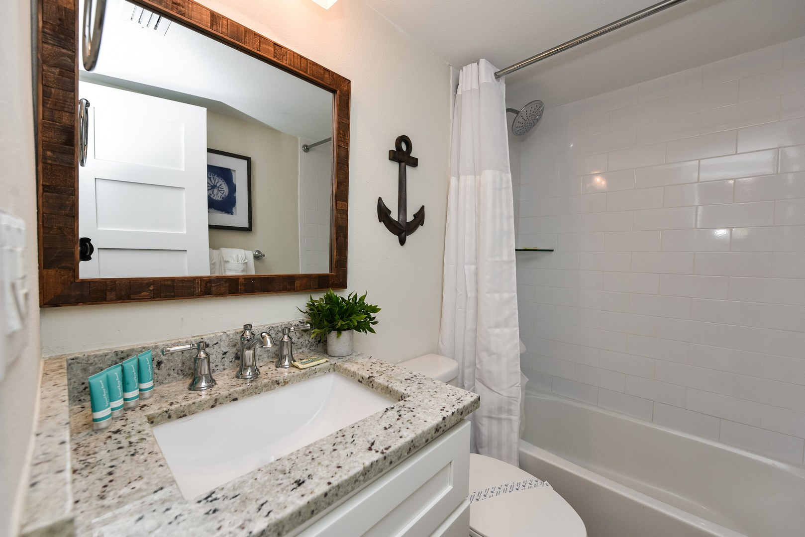 Shower and Tub combo with Beautiful Vanity and Décor