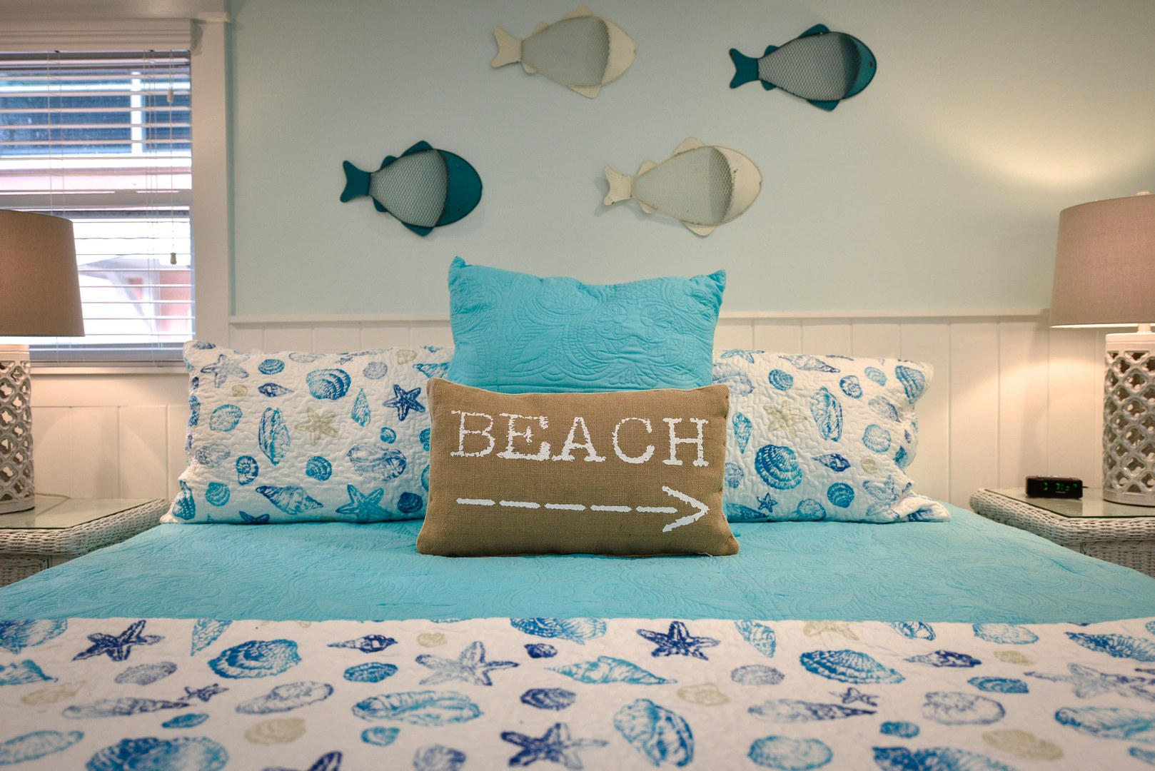 Comfortable King Bed and Pillows with Great Decorations