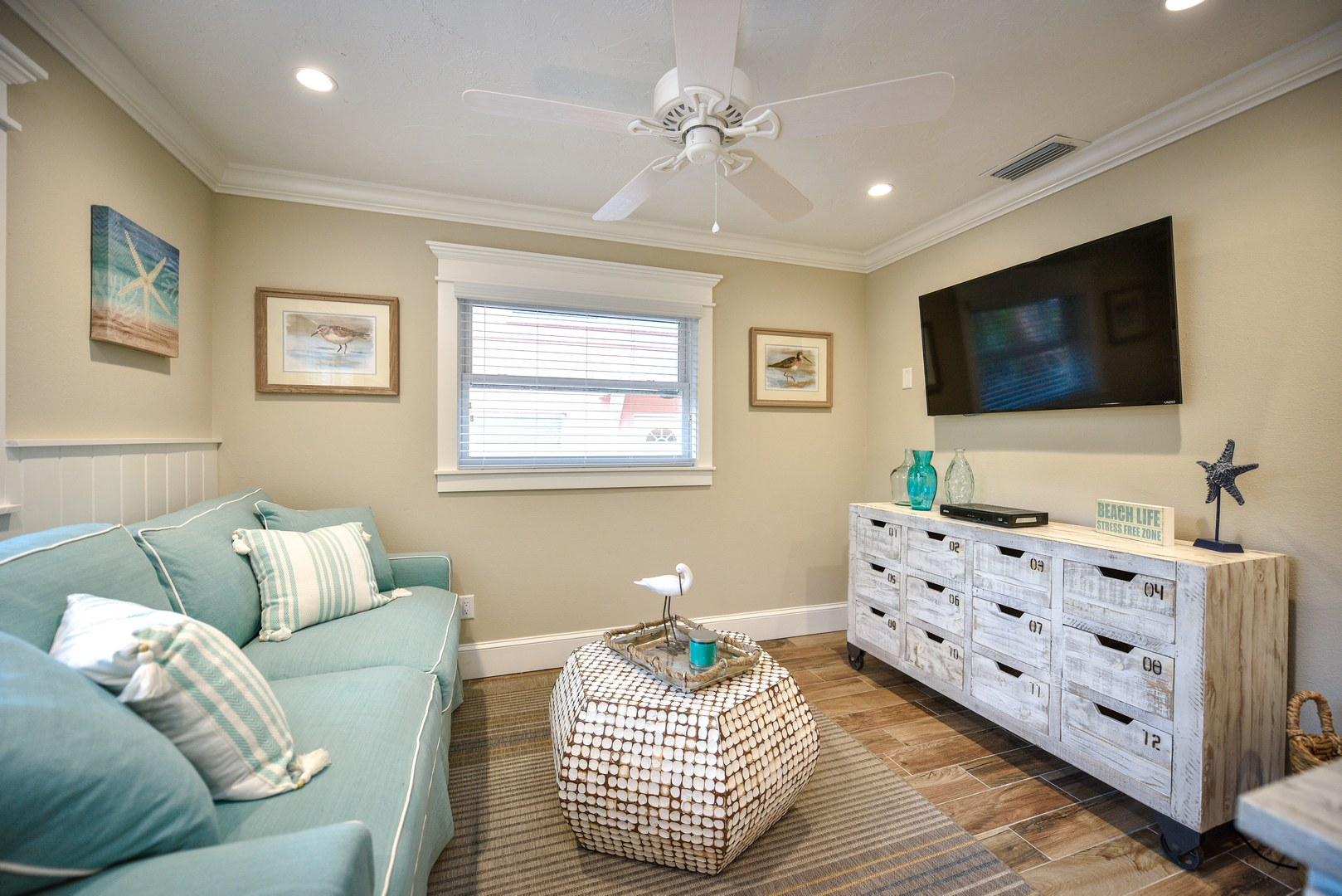 Living Room with Storage and Queen Pull Out Sleeper Sofa
