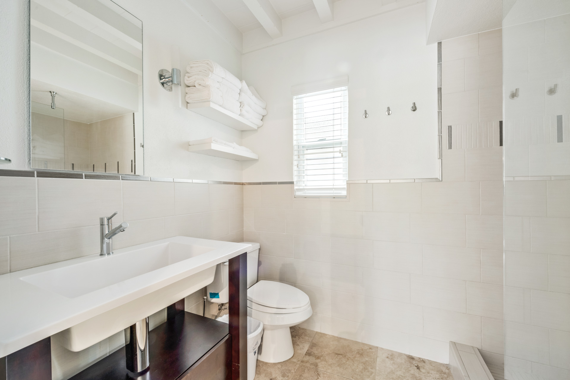 Full Bath with Vanity, Walk In Shower, Commode