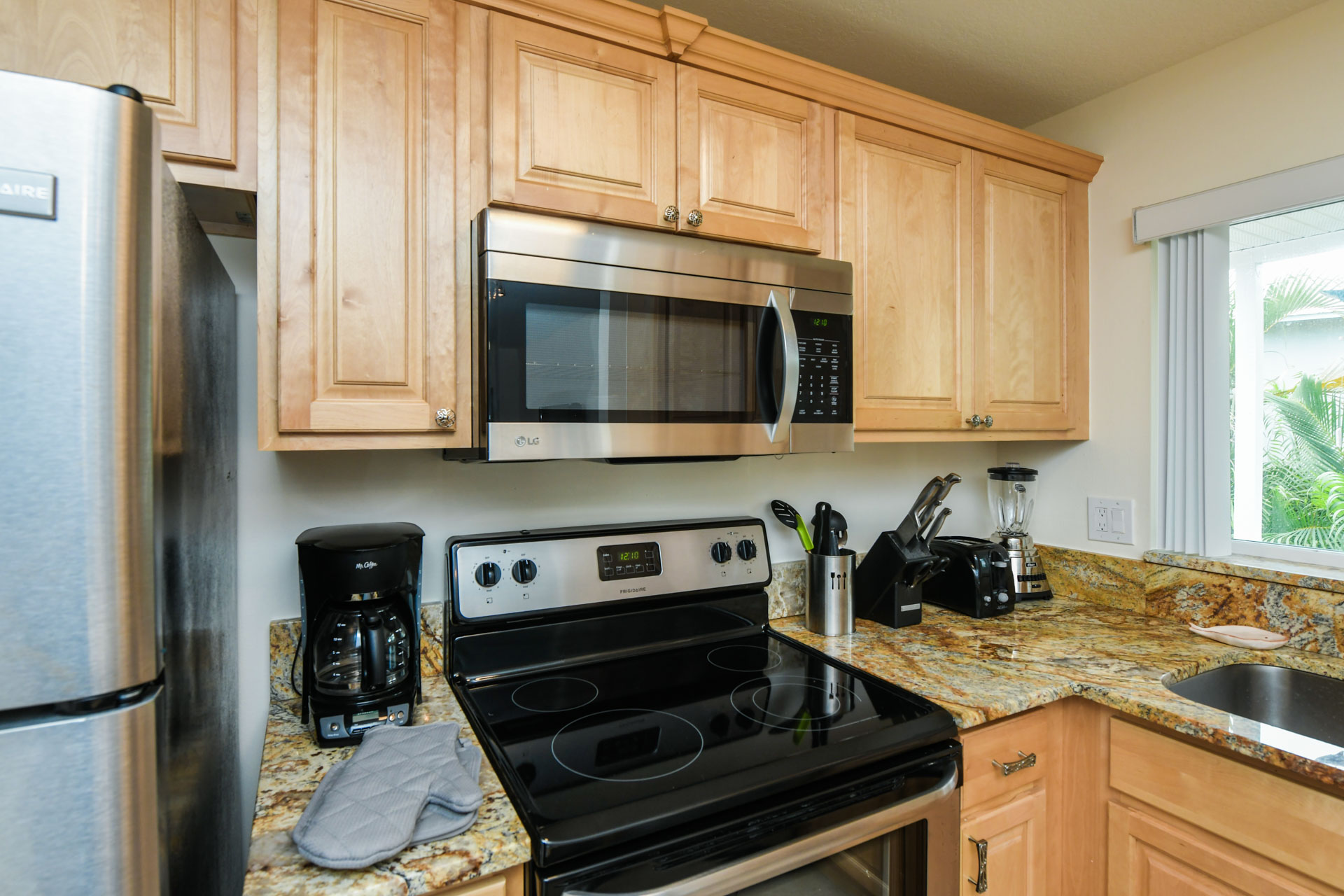 Flat top stove and microwave